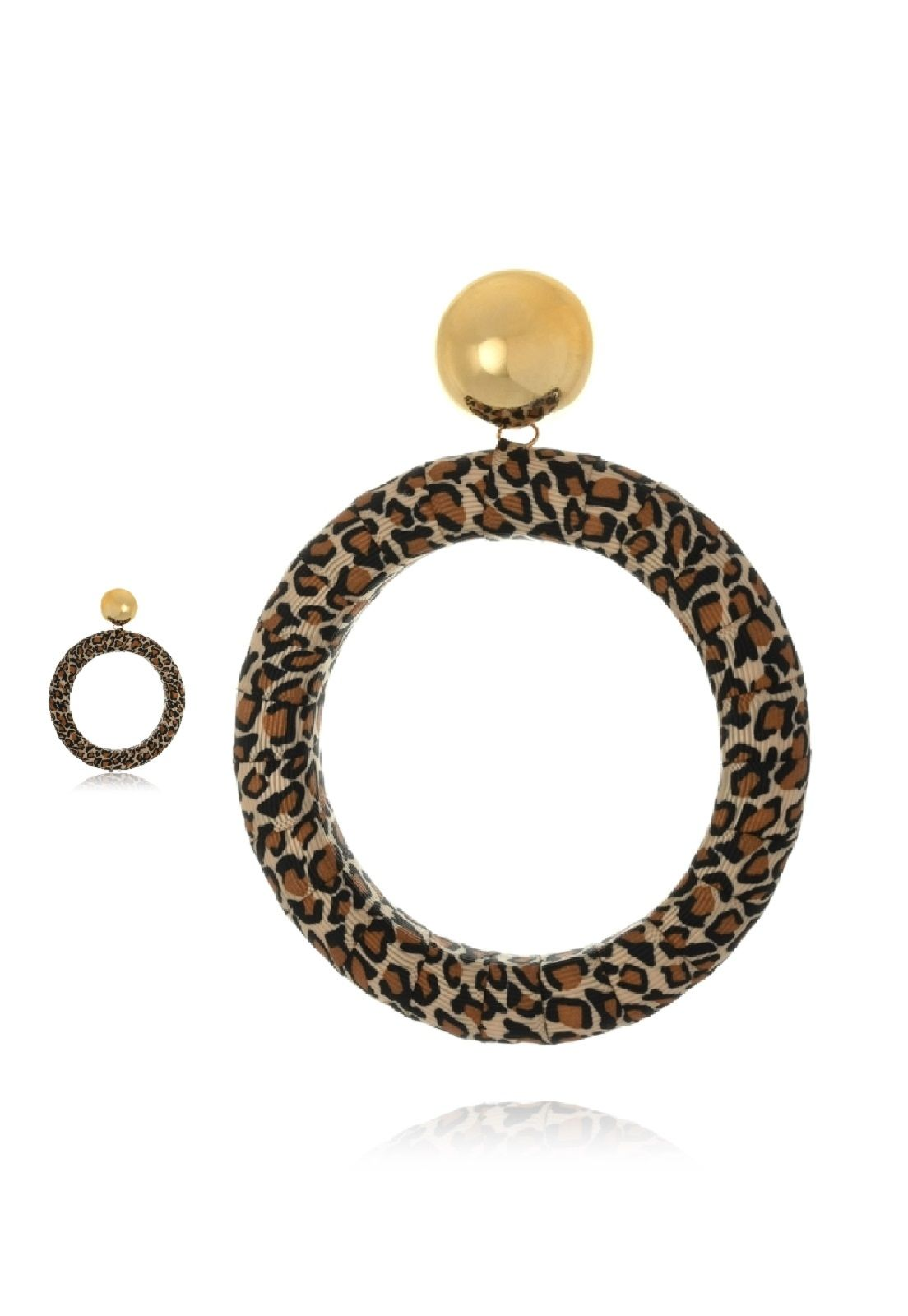 Maxi Argola Le Diamond Animal Print Dourada