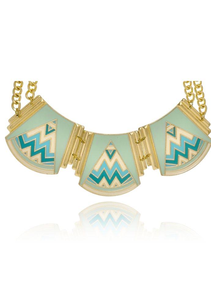 Maxi Colar Le Diamond Geométrico Azul