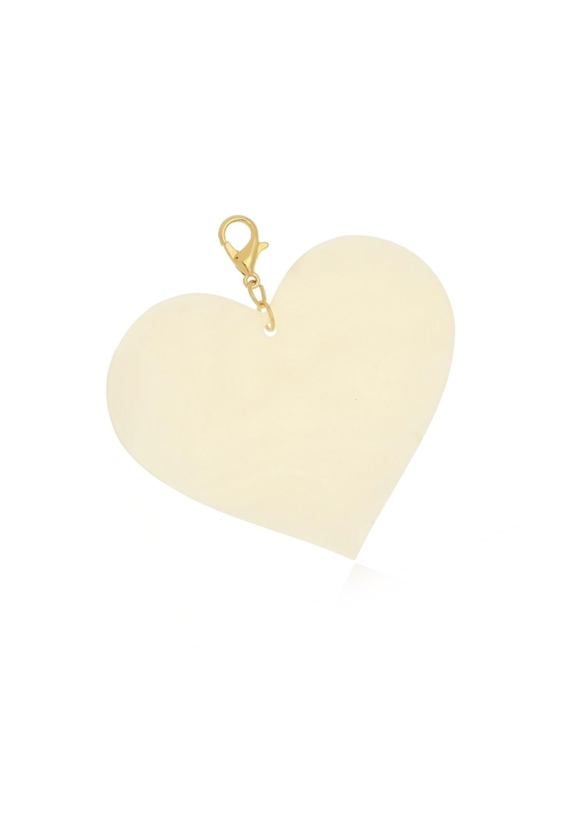 Pingente Le Diamond Coração Acrílico Off White
