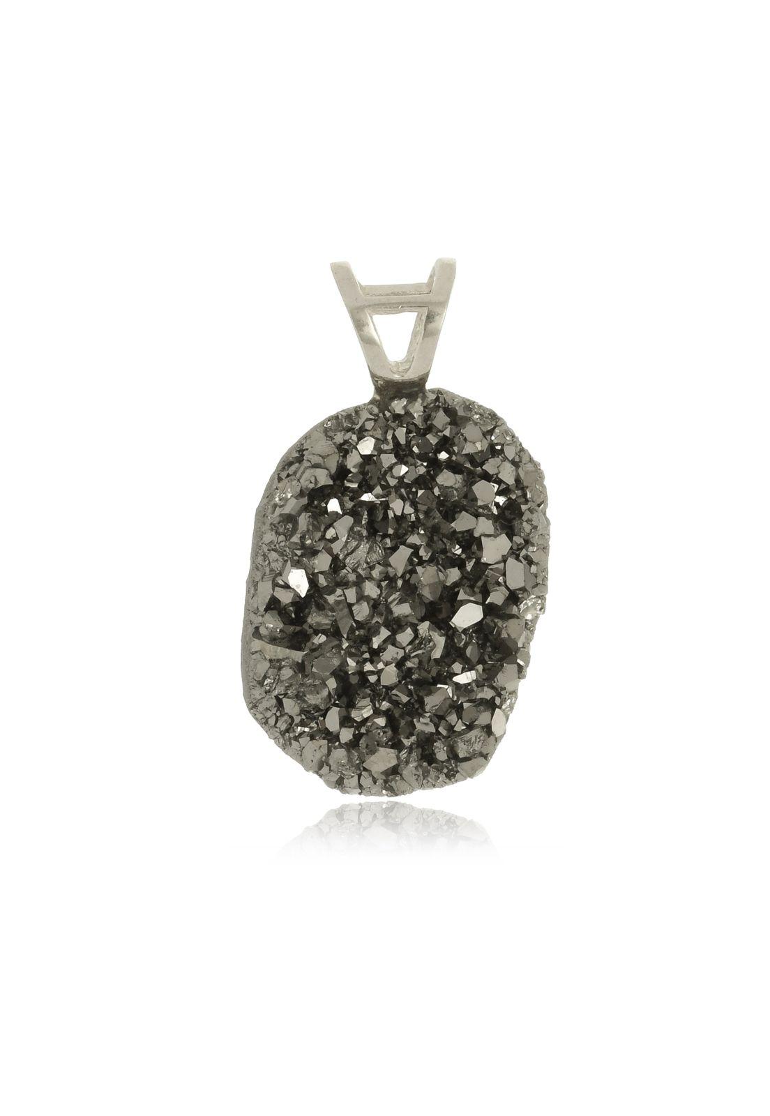 Pingente Le Diamond Druza Natural Paetê Cinza