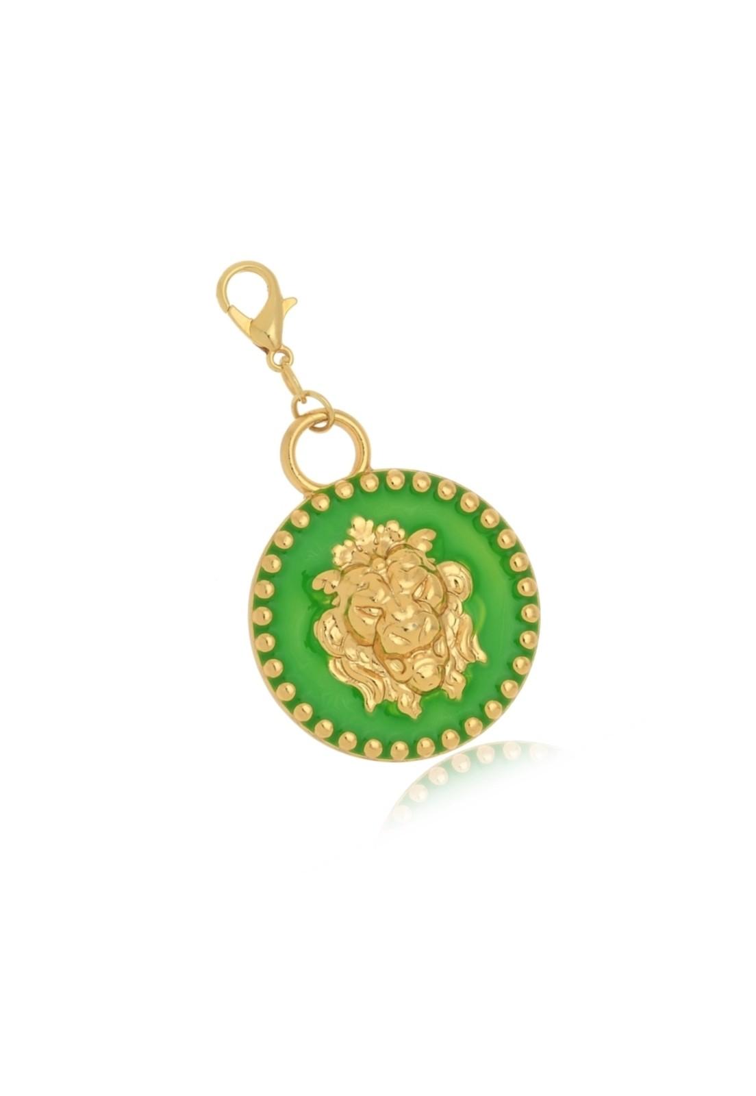 Pingente Le Diamond Medalha De Leão Verde