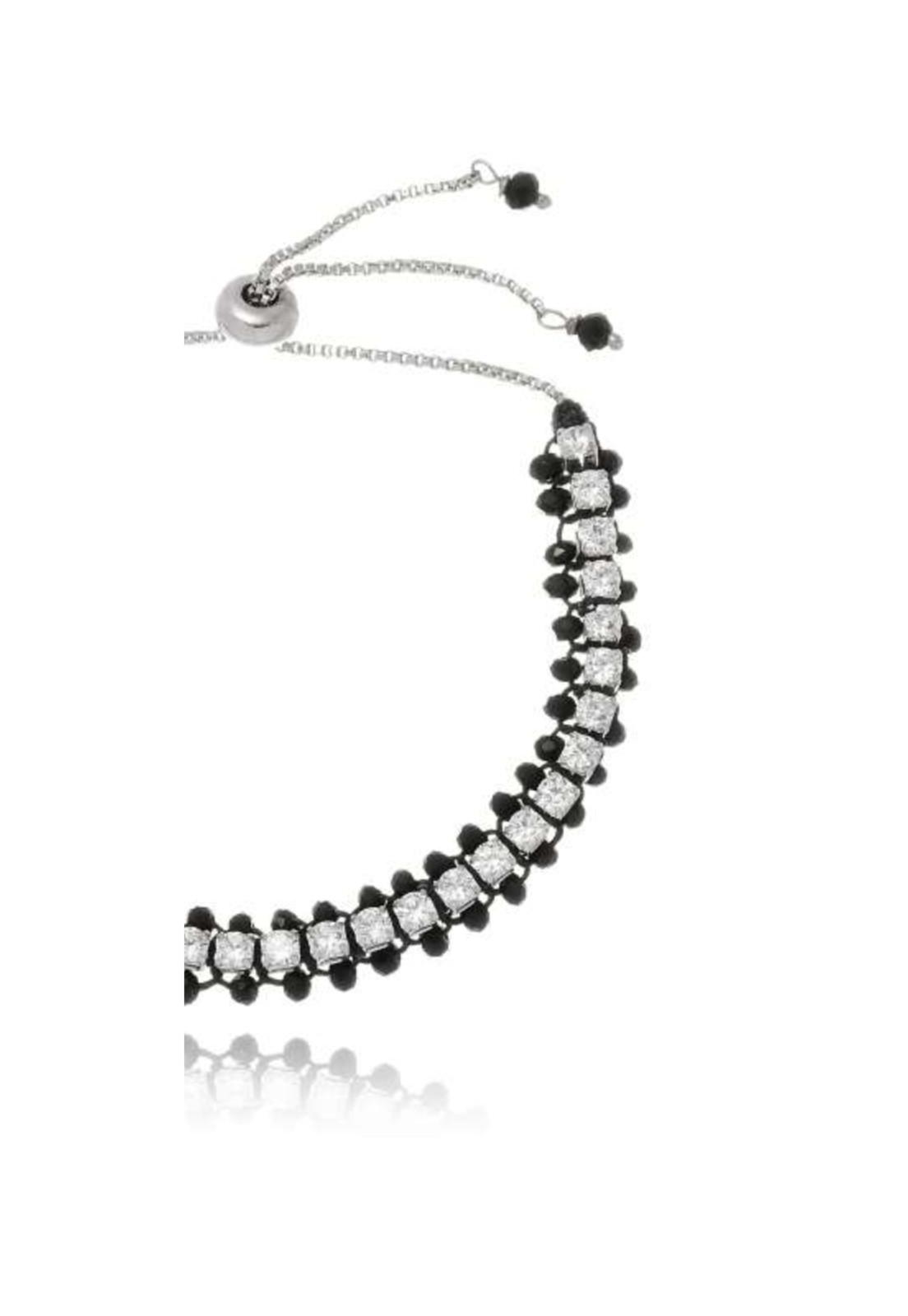 Pulseira Le Diamond Gravatinha com Zircônias Preta