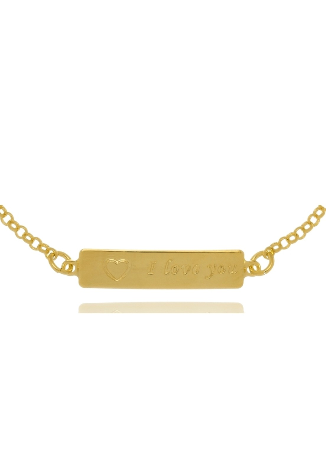 Pulseira Le Diamond Infantil I love You Dourado