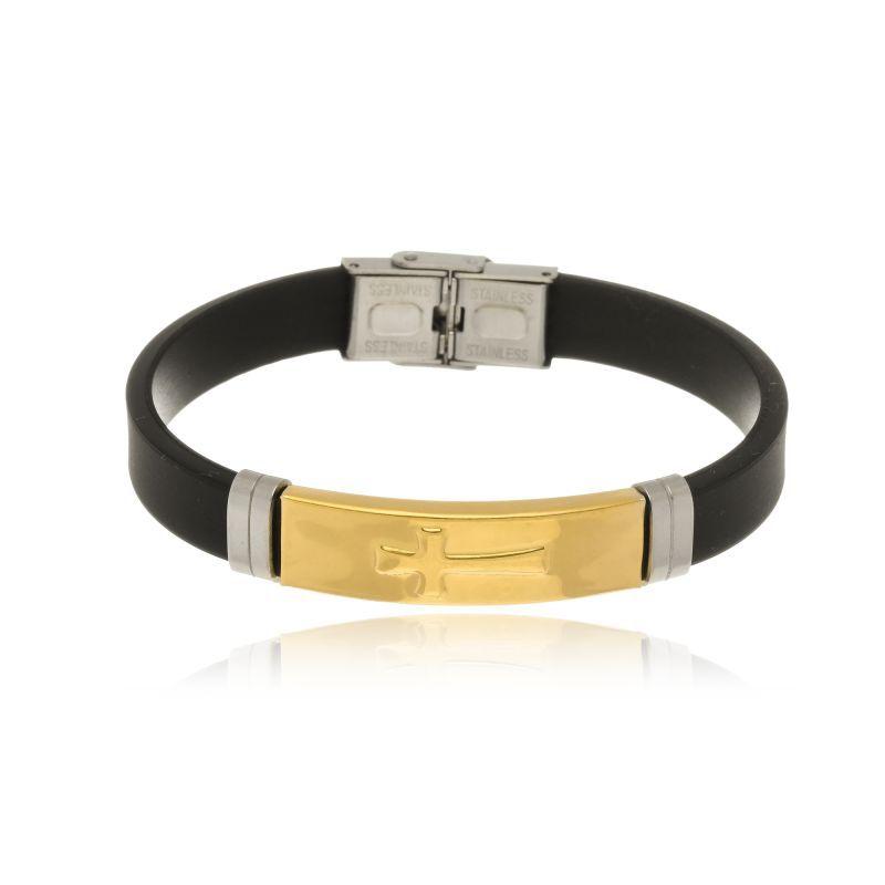 Pulseira Le Diamond masculina em couro preto com chapa cruz dourada
