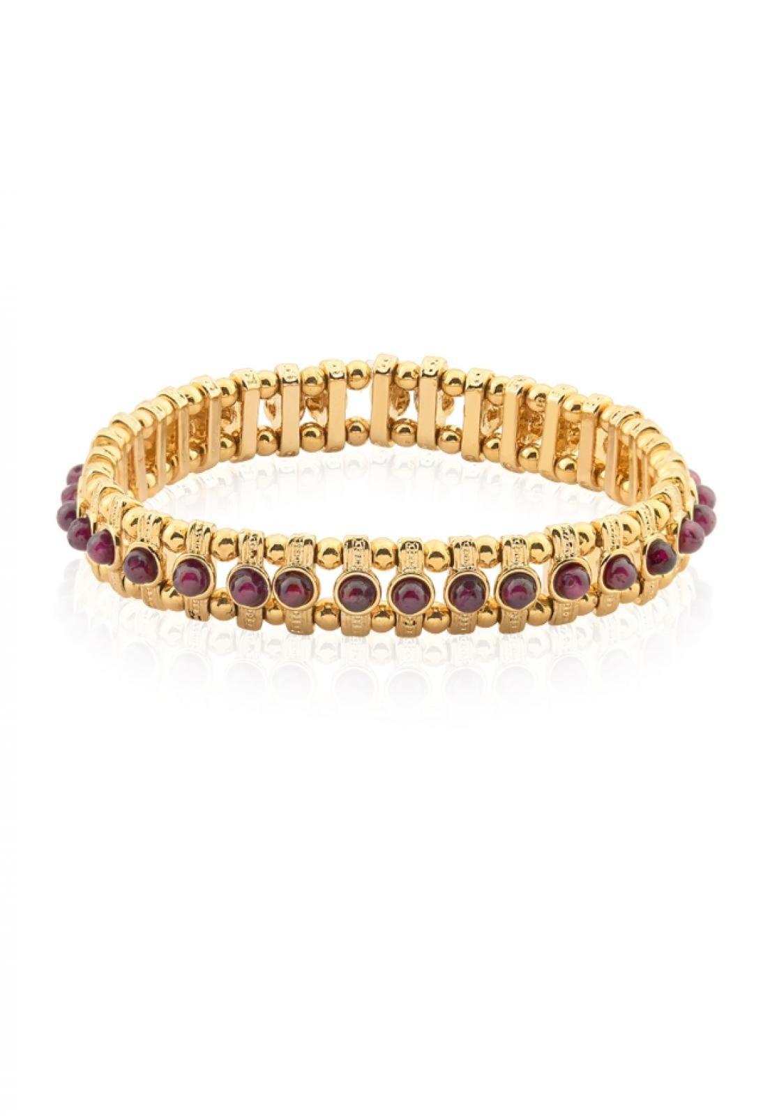 Pulseira Le Diamond Chapas de Metal Dourado
