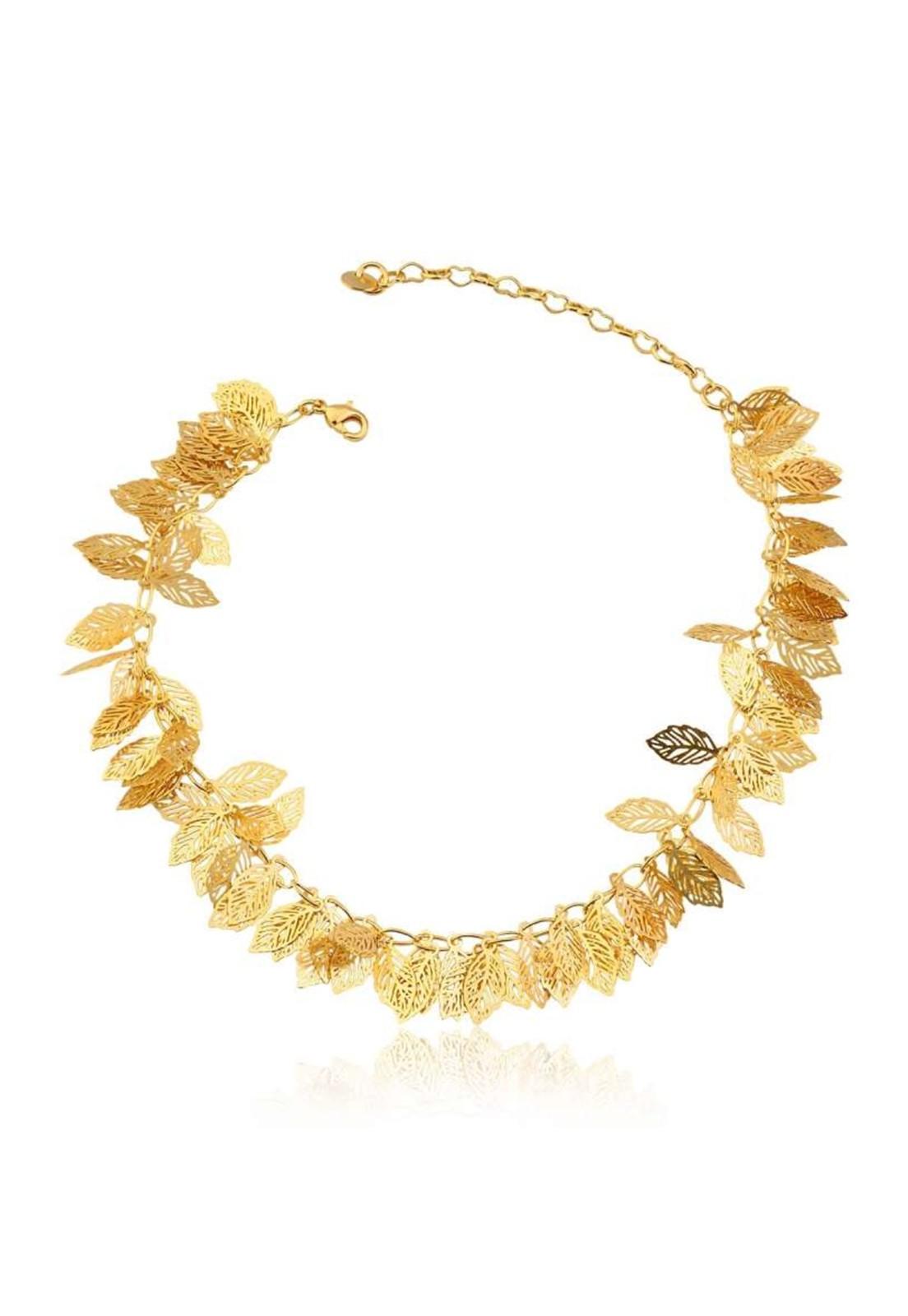 Tornozeleira Le Diamond Folhas Dourada