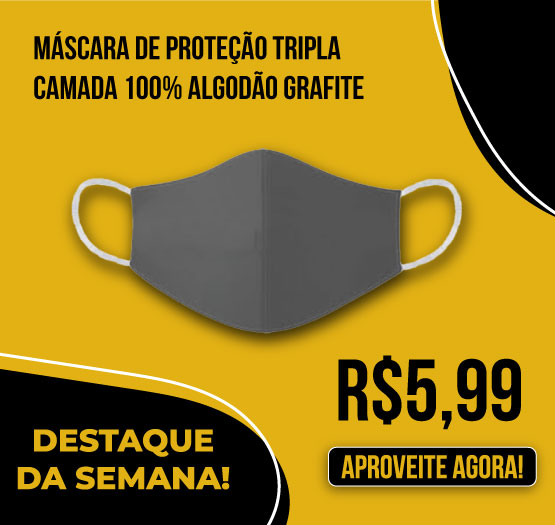 Mascara de Protecao Tripla Camada 100% Algodão Grafite