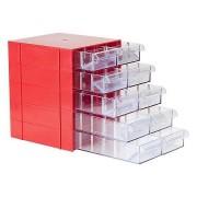 Gaveteiro Organizador Vermelho Acrilico 10 Gavetas Magus Cg510