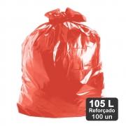 Saco de Lixo 105 Litros Vermelho Reforçado 100un Plast Veneza