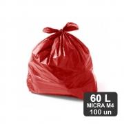 Saco de Lixo 60 Litros Vermelho M4 Reforçado 100un Plast Veneza