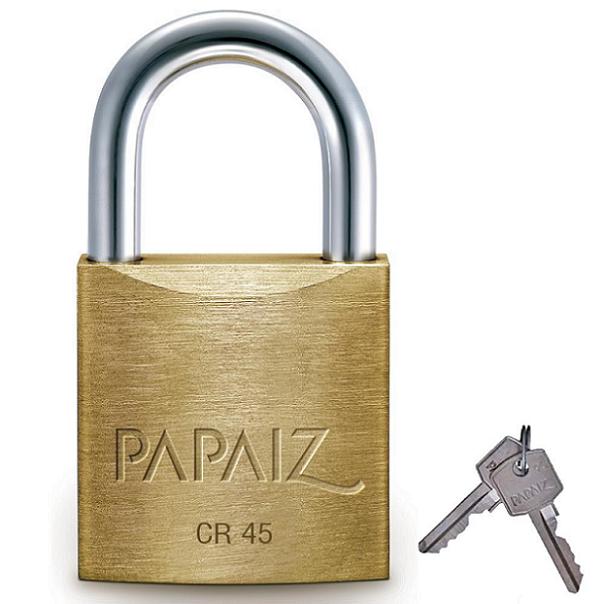 Cadeado de Latão Maciço 60mm com 2 chaves CR-60 Papaiz