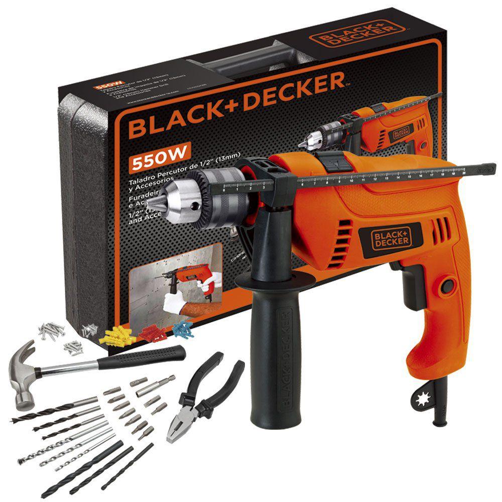 Furadeira Impacto 1/2 550w 127v + Kit 82 Pçs Black E Decker Hd555k88-Br