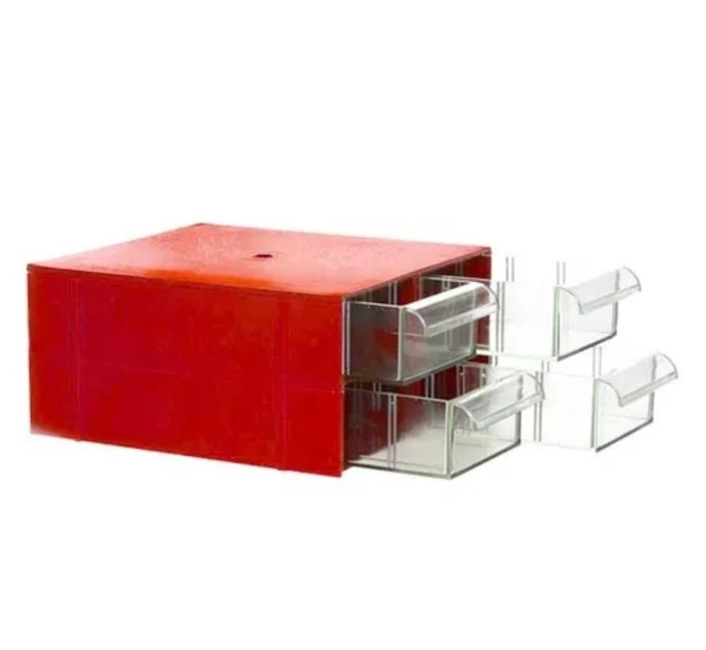 Gaveteiro Organizador Vermelho Acrilico 4 Gavetas Magus Cg204
