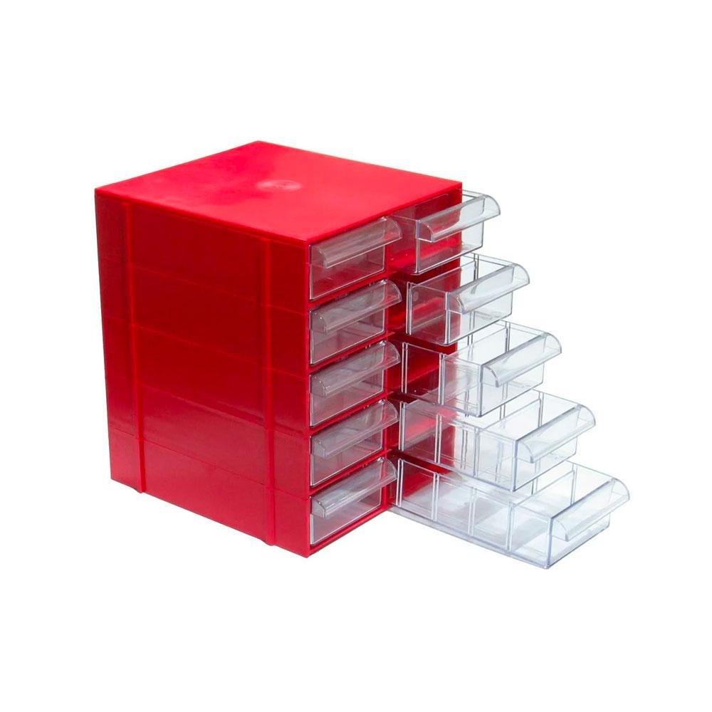 Gaveteiro Vermelho 5 Bases Com 10 Gavetas Com Divisórias CG510/5 MAGUS