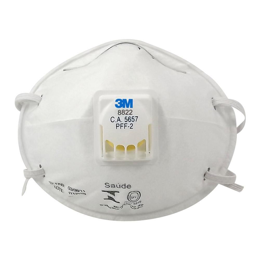 Kit 10 Máscaras Respiratórias Descartáveis 3M PFF2 8822 C/ Válvula CA 5657