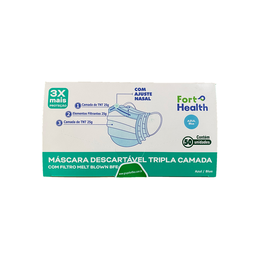 Kit 2 Caixas Mascara Descartáveis Tripla Azul Meltblow 100un Fort Health