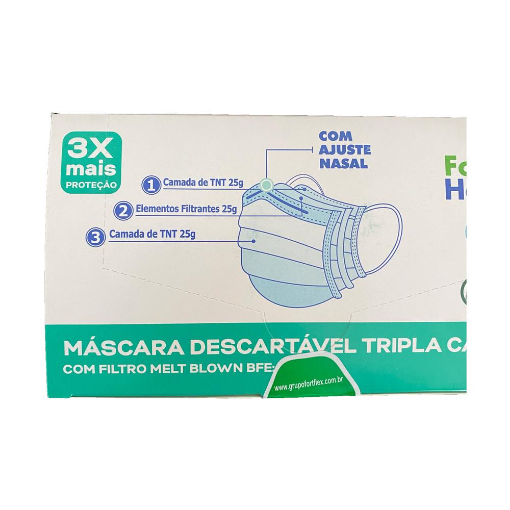 Kit 4 Caixas Máscara Descartáveis Tripla Azul Meltblow 200un Fort Health