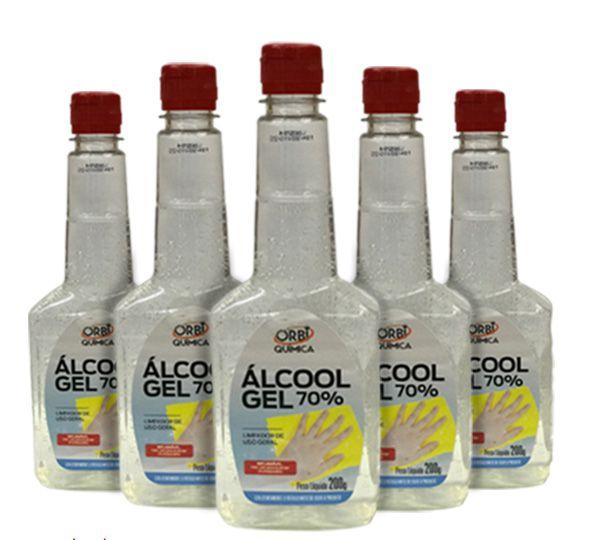 Kit 5 Álcoois Gel 70º Antisséptico e Higienizador de Mãos 200g Orbi