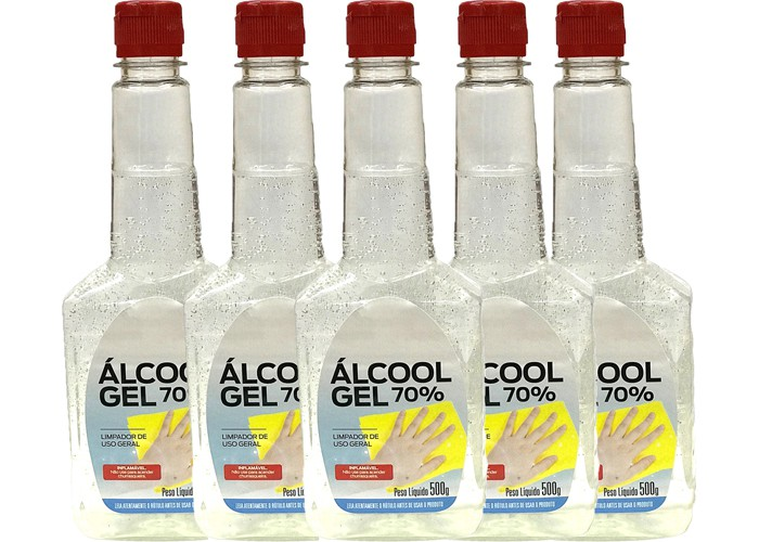 Kit 5 Álcoois Gel 70º Antisséptico e Higienizador de Mãos 500g Orbi