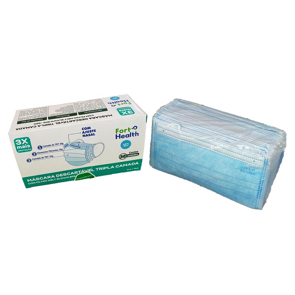 Kit 5 Caixas Mascara Descartáveis Tripla Azul Meltblow 250un Fort Health