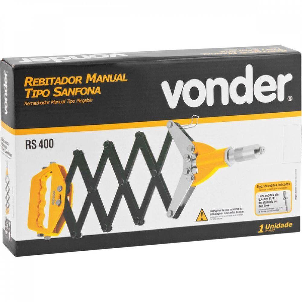 Rebitador Manual Tipo Sanfona P/ Rebites Até 6,4 mm RS 400 Vonder