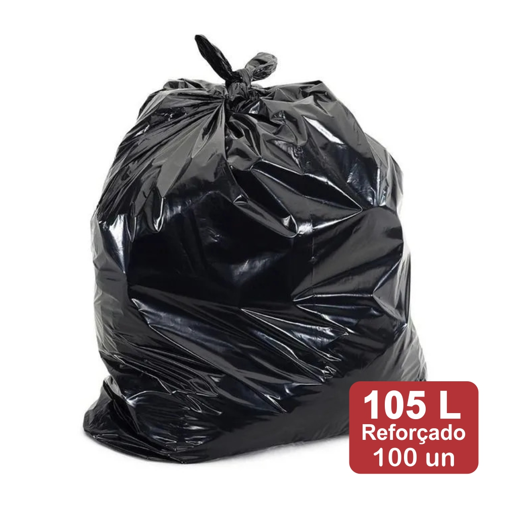 Saco de Lixo 105 Litros Preto Reforçado 100un Plast Veneza
