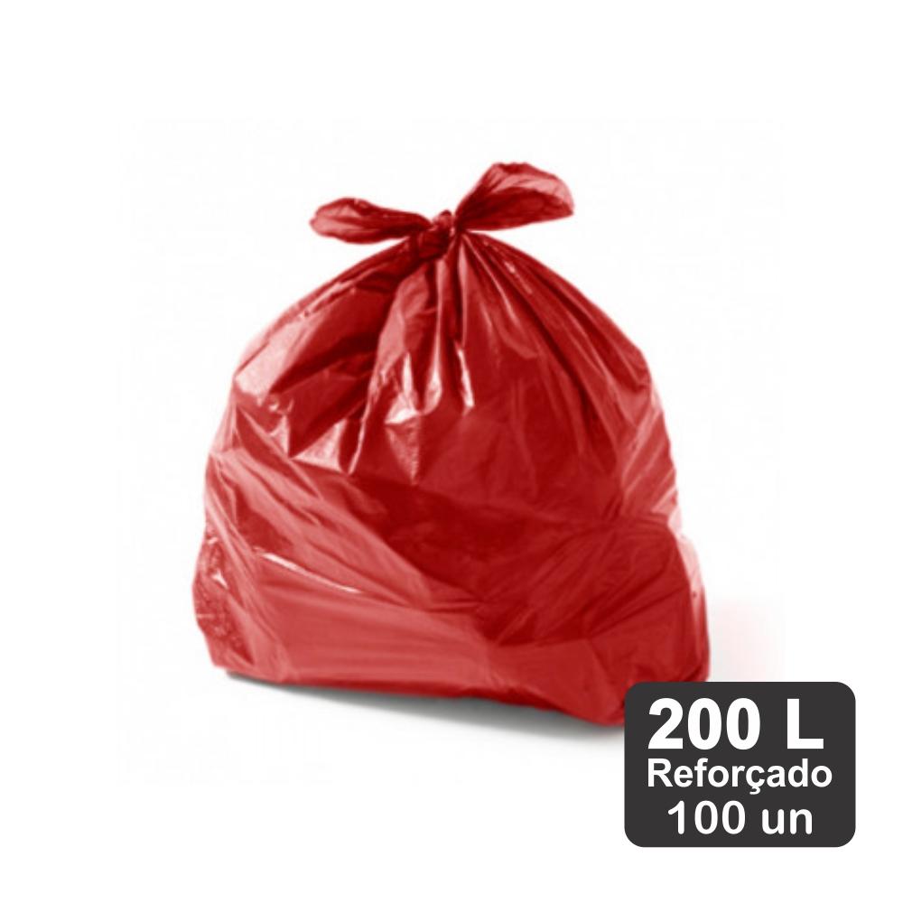 Saco de Lixo 200 Litros Vermelho M5 Reforçado 100un Plast Veneza