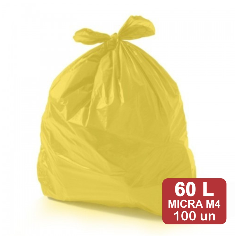 Saco de Lixo 60 Litros Amarelo M4 Reforçado 100un Plast Veneza