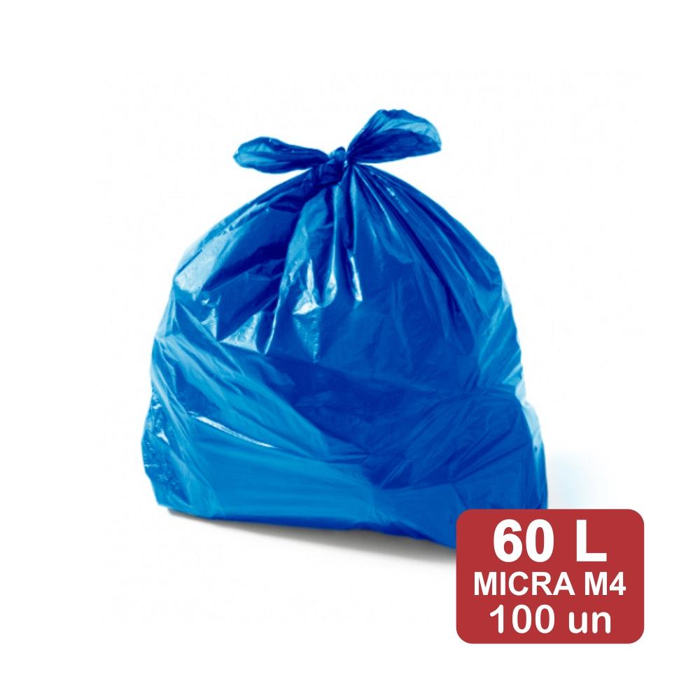 Saco de Lixo 60 Litros Azul M4 Reforçado 100un Plast Veneza