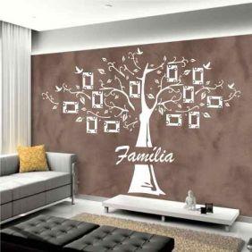 Adesivo Decorativo Árvore Para Fotos Da Família 12 Molduras