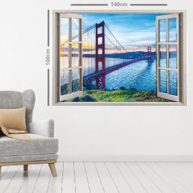 Adesivo de Parede  Janela Golden State 1,4x1m