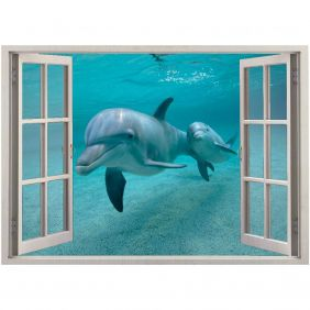 Adesivo de Parede  Janela Golfinhos 1,4x1m
