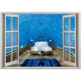Adesivo de Parede  Janela Hotel Fundo do Mar 1,4x1m