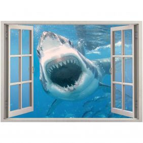 Adesivo de Parede  Janela Tubarão 1,4x1m