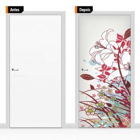 Adesivo Decorativo Para Porta Textura Floral  Colorido Flo010