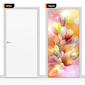 Adesivo Decorativo Para Porta Textura Floral Flores Flo014