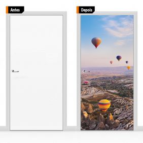 Adesivo Decorativo Para Porta Textura Paisagem Balões Psg02