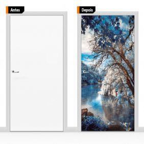 Adesivo Decorativo Para Porta Textura Paisagem Lago Psg05