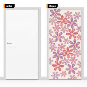 Adesivo Decorativo Para Porta Textura Floral Flores Flo07