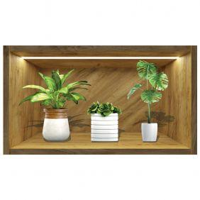 Painel Quadro 3d Nicho Adesivo Vaso Floral Exclusividade Mod2