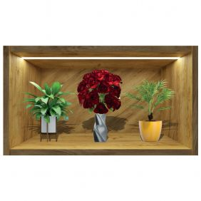 Painel Quadro 3d Nicho Adesivo Vaso Floral Exclusividade Mod3