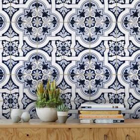 Papel De Parede Para Cozinha Azulejo Português Lavável Mod30