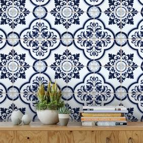 Papel De Parede Para Cozinha Azulejo Português Lavável Mod31