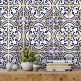 Papel De Parede Para Cozinha Azulejo Português Lavável Mod33