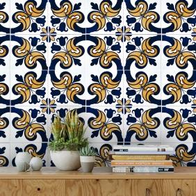 Papel De Parede Para Cozinha Azulejo Português Lavável Mod35