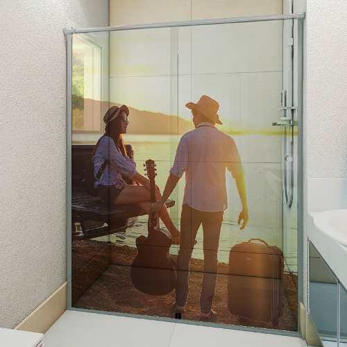 Personalizado Com Foto Adesivo Box Banheiro 3d 2 Folhas