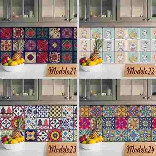 Adesivo Papel De Parede Azulejo Cozinha Folha 61x61cm Folha
