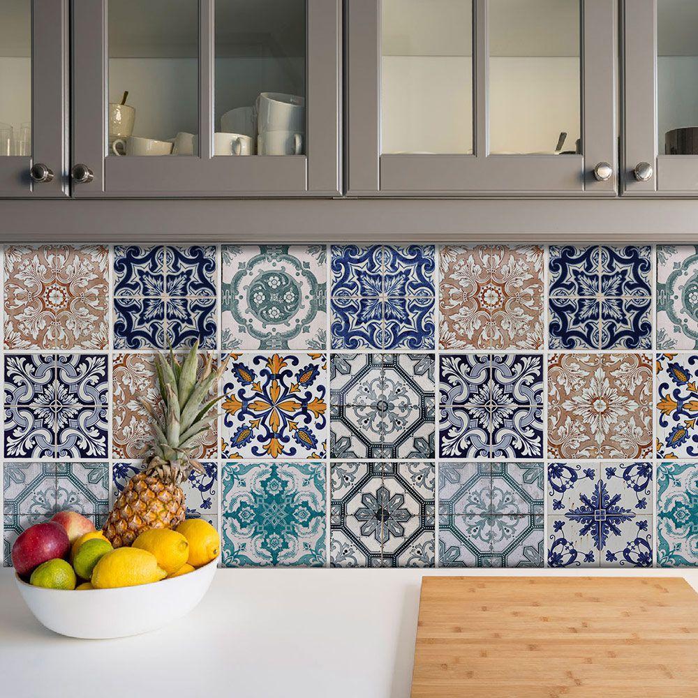 Adesivo Azulejo Português Ladrilho Para Cozinha Mod17