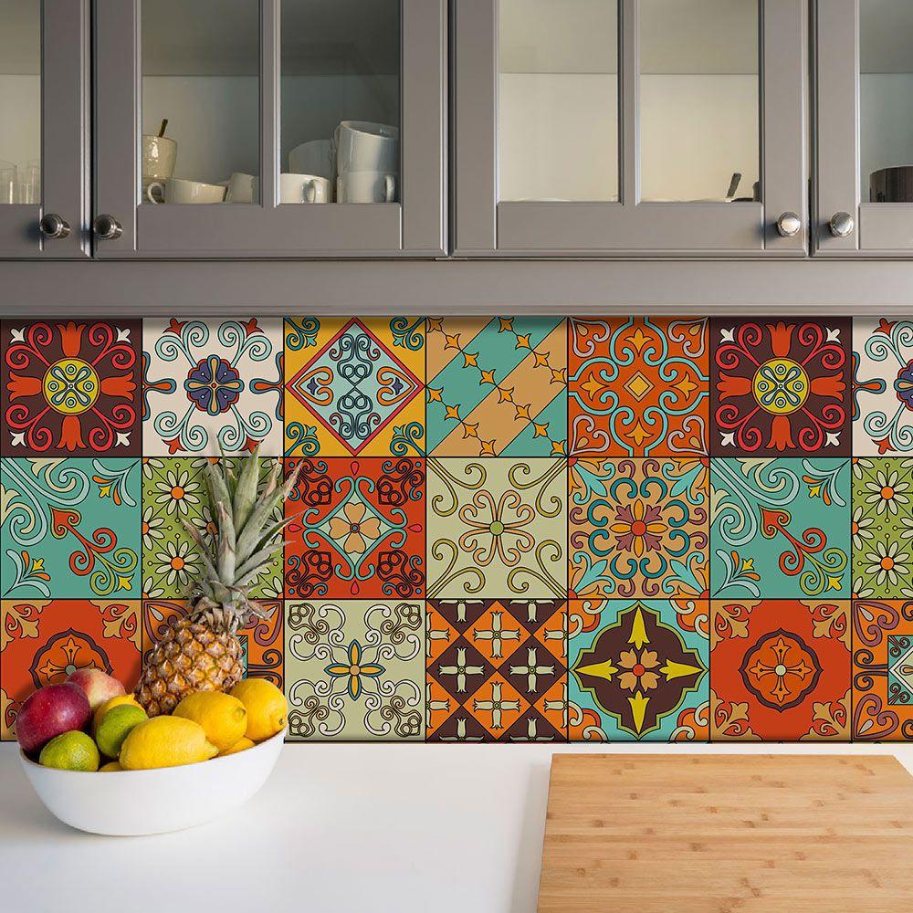 Adesivo Azulejo Português Ladrilho Para Cozinha Mod20