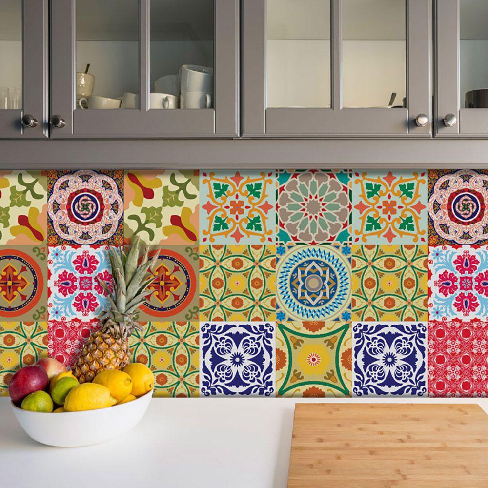 Adesivo Azulejo Português Ladrilho Para Cozinha Mod3
